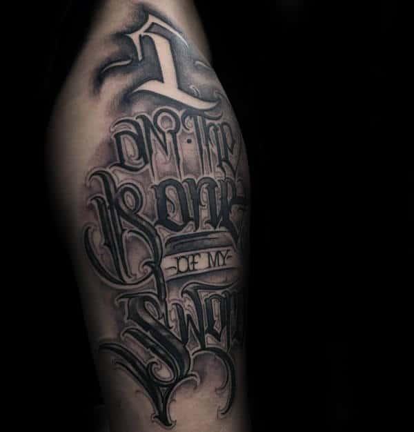 90 script tattoos for men cursive ink design ideas for Male thigh tattoos