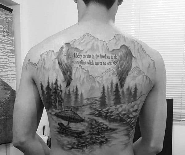 Quote With Angel Wings Mens Landscape Back Tattoo