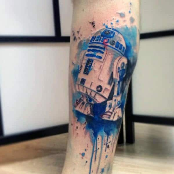R2d2 Star Wars Video Game Wateroclor Leg Tattoos For Guys