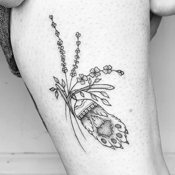 Rabbit Foot Lavander Tattoo