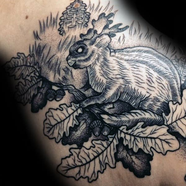 Rabbit With Acorns And Leaves Mens Dotwork Tattoos
