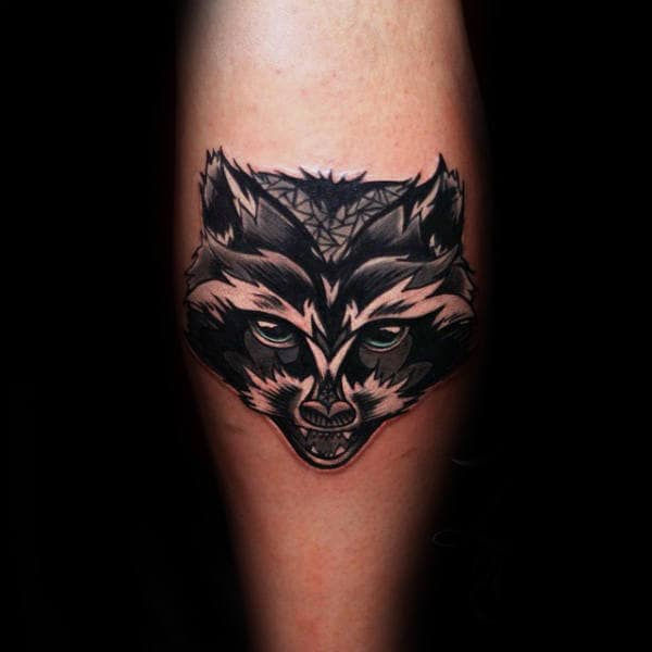 Raccoon Head Mens Leg Calf Tattoo Designs