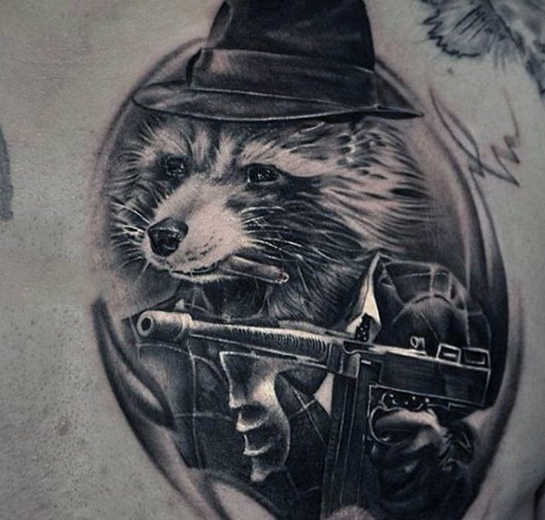 Raccoon Mobster Mens Chest Tattoo Ideas