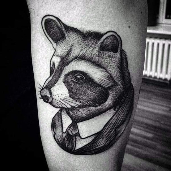 Raccoon Wearing Business Suit Mens Arm Tattoos