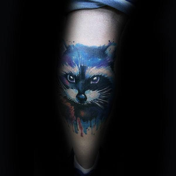 Raccoon With Dripping Blue Watercolor Paint Mens Leg Tattoo