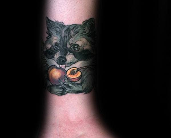 Raccoon With Food Mens Lower Leg Tattoos Neo Traditonal Design
