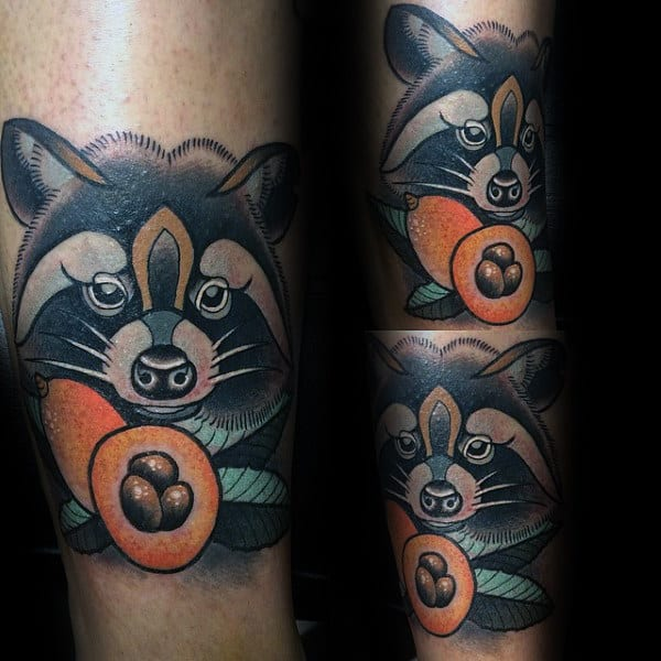 Raccoon With Fruit Mens Forearm Tattoos