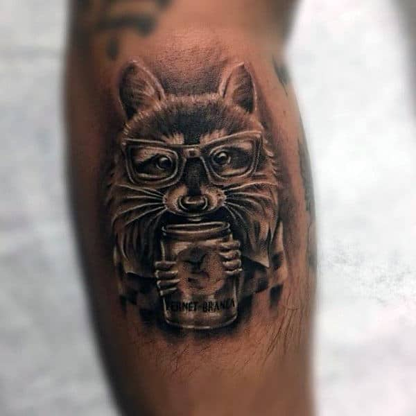 Raccoon With Glasses Holding Can Mens Leg Calf Tattoo