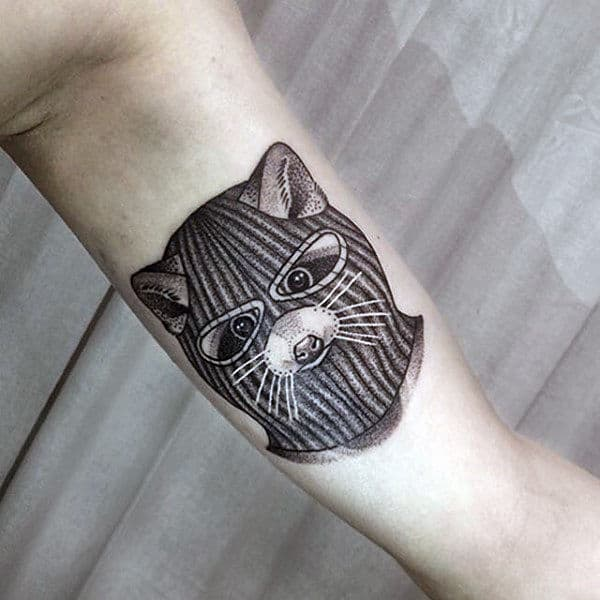 Raccoon With Mask Mens Inner Arm Bicep Tattoo