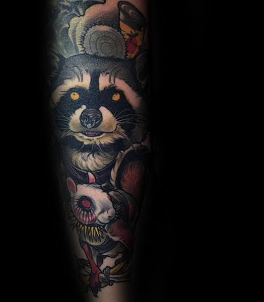 Raccoon With Mouse Mens Amazing Sleeve Tattoos