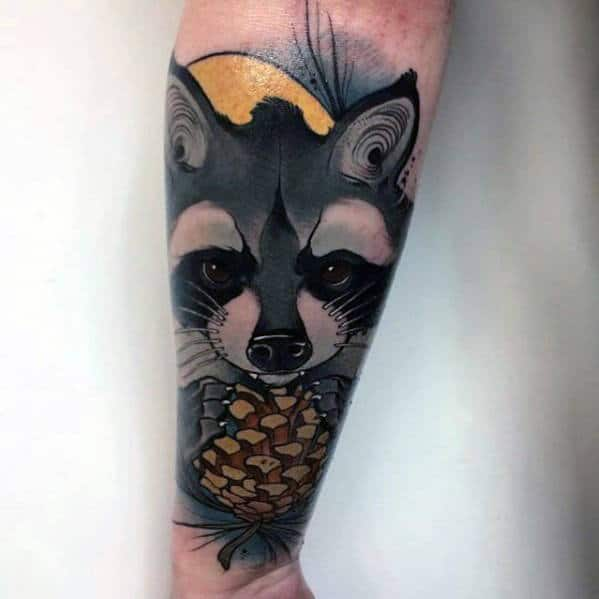 Raccoon With Pine Cone Mens Forearm Sleeve Tattoo