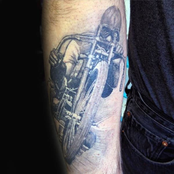 Racing Bikersmens Outer Forearm Tattoos