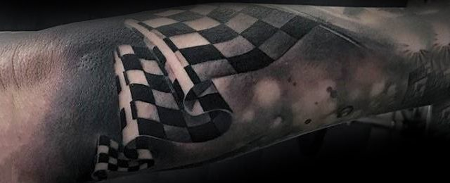 Racing Checkered Flag Tattoo Ideas For Men