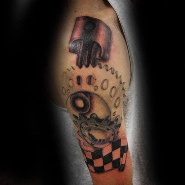 Racing Flag Gear With Piston Motocross Mens Arm Tattoo