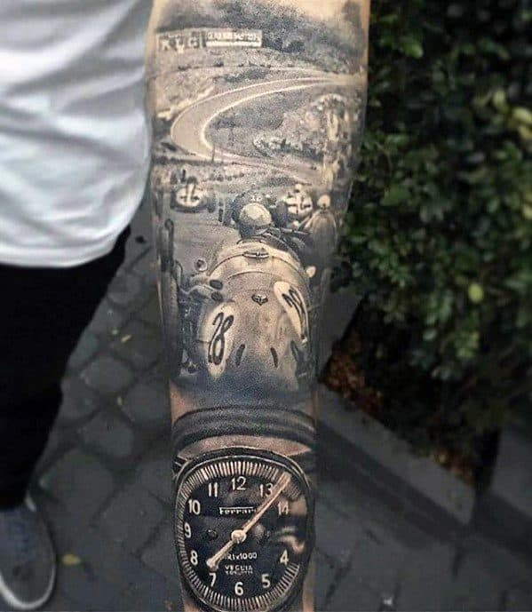 Racing Forearm Sleeve Mens Sports Tattoo