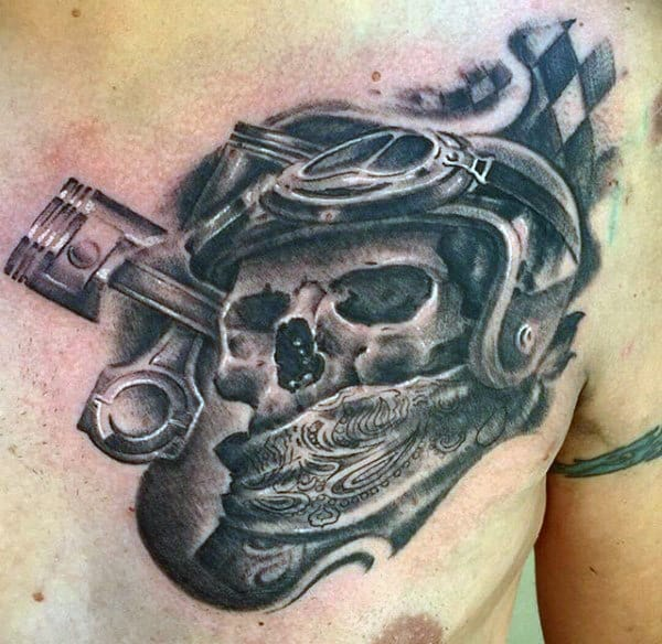 Racing Skull Biker Tattoo Designs For Guys