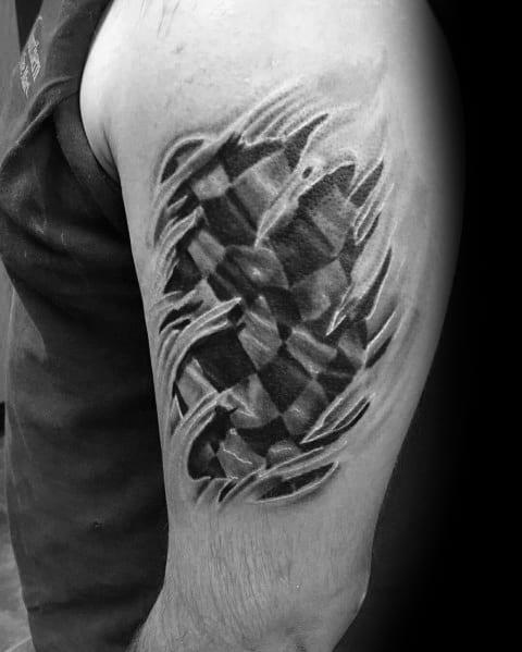 Racing Themed Stylish Mens Checkered Flag Tattoos
