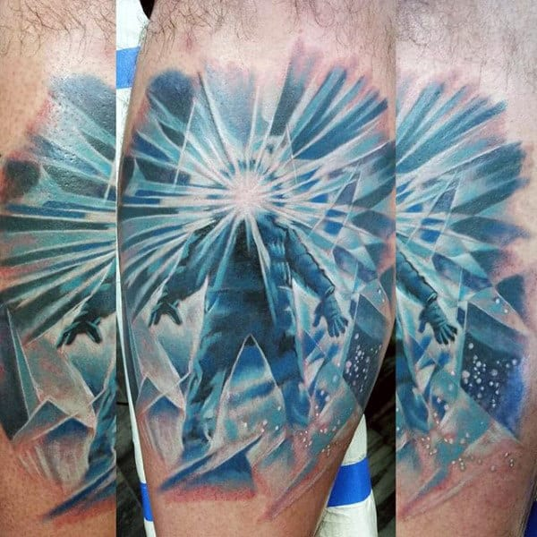 Radiant Blue And White Ink Mens Explorer Tattoo On Leg Calf
