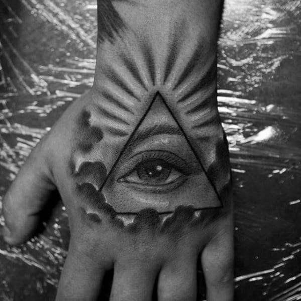 Radiant Shaded Back And Grey Guys Eye Of Providence Hand Tattoo
