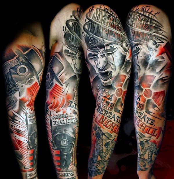 Radioactive Trash Polka Mens Full Arm Sleeve Tattoos