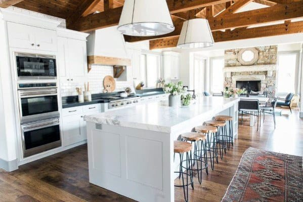 Rafters Wood White Kitchen Ceiling Ideas