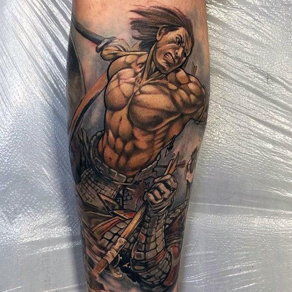 Raging Japanese Samurai Warrior Tattoo Male Forearms