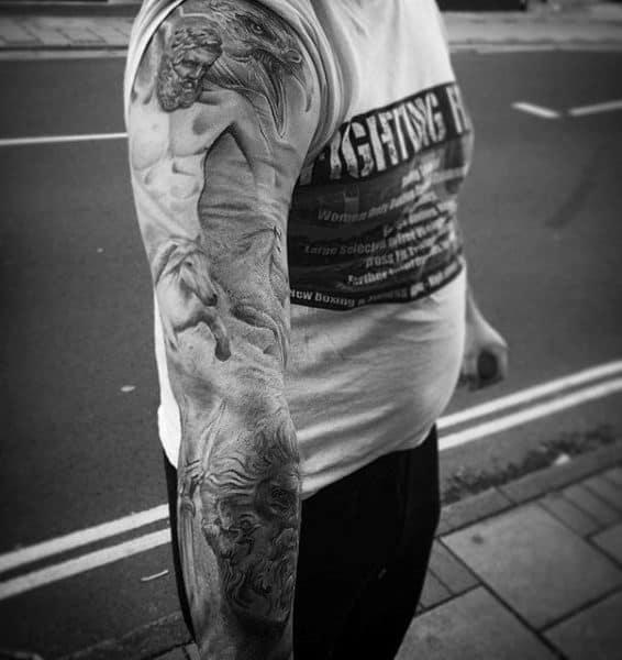 Raging Fiery Full Sleeved Greek Myth Tattoos For Men