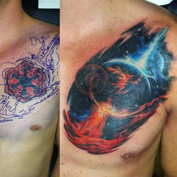 Raging Fire Astronomy Tattoo Male Chest