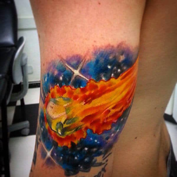 Raging Flames In Blue Cosmos Tattoo On Elbows For Guys