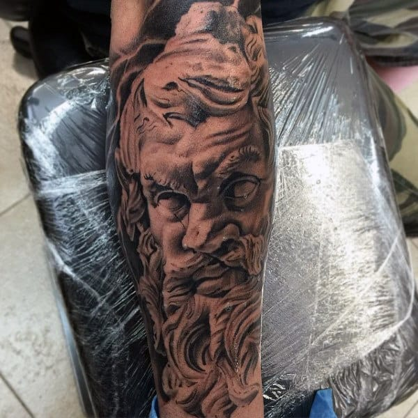 Raging Greek God Tattoo On Arms For Guys