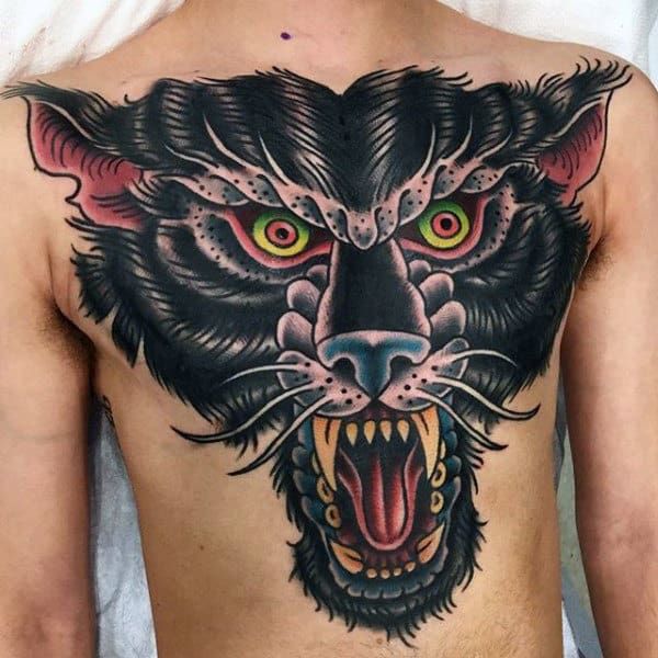 Raging Green Eyed Beast Tattoo Guys Chest