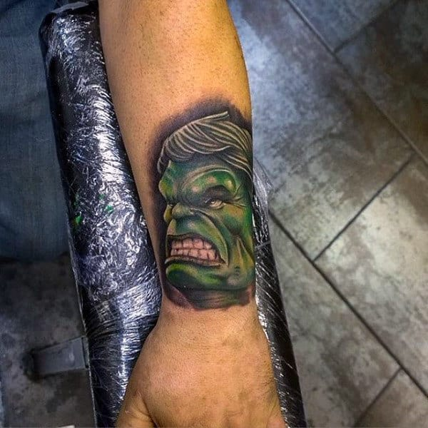 Raging Hulk Tattoo Mens Forearms