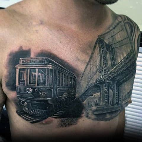 Rail Car With Bridge Mens Cool Realistic Tattoo On Chest