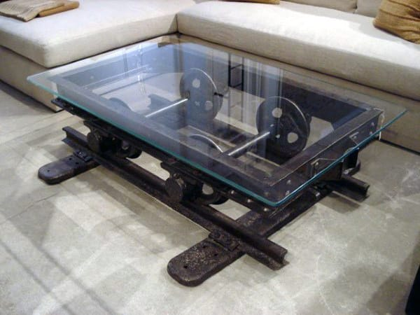 Railroad Man Cave Decor Coffee Table