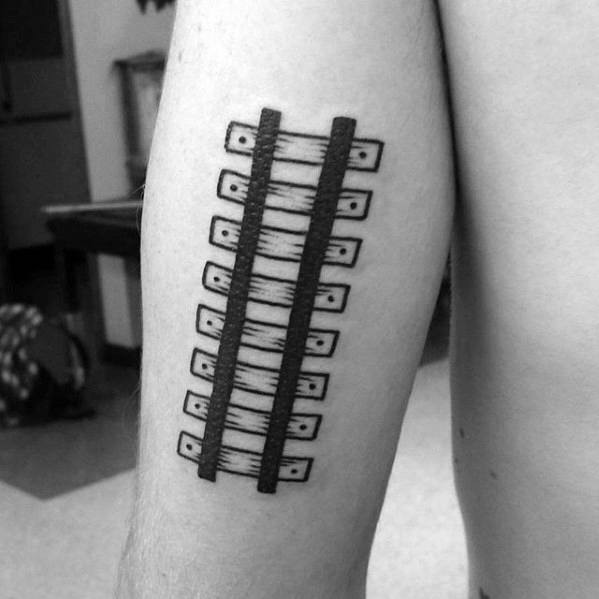 Railroad Tracks Simple Arm Mens Tattoos