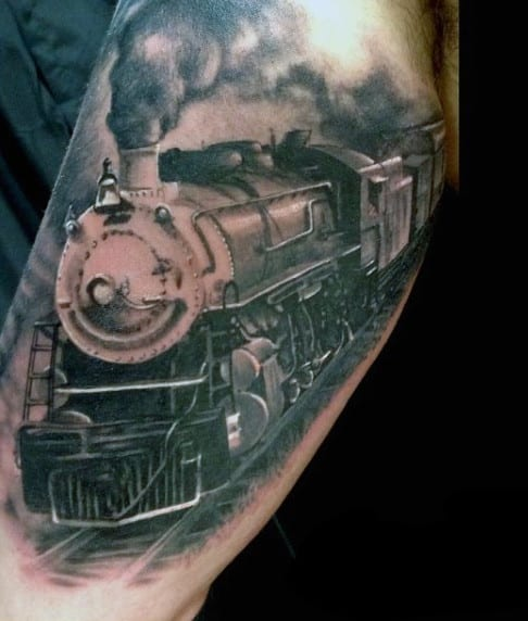 Railroad Train Tattoo Design Ideas For Men On Upper Arm