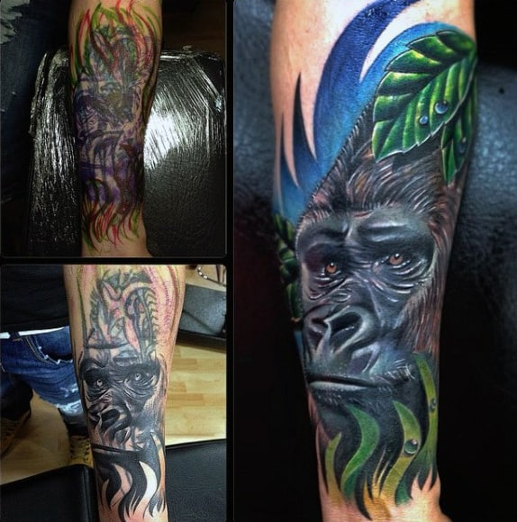 Rain Forest Gorilla Tattoo Designs For Men Half Sleeve