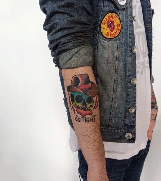 Rainbow Cowboy Skull Cartoon American Traditional Stylish Tattoo On Mans Forearm