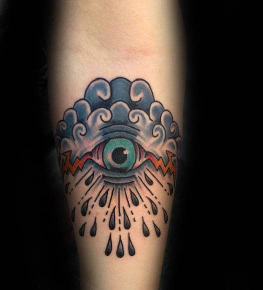 Raining Cloud With Eye Traditional Mens Old School Inner Forearm Tattoo