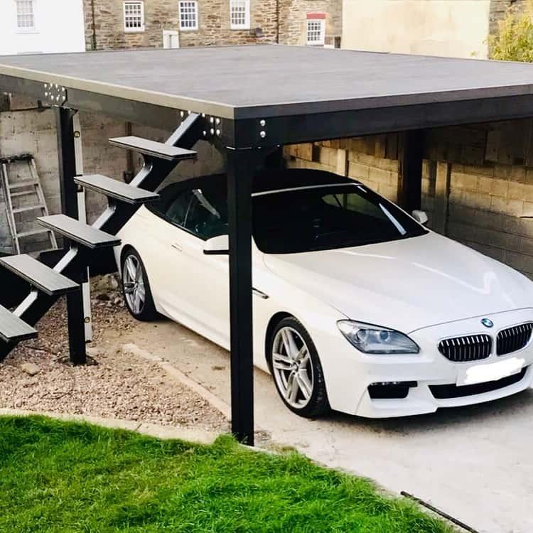 Raised Decking Area Small Carport Bond7922