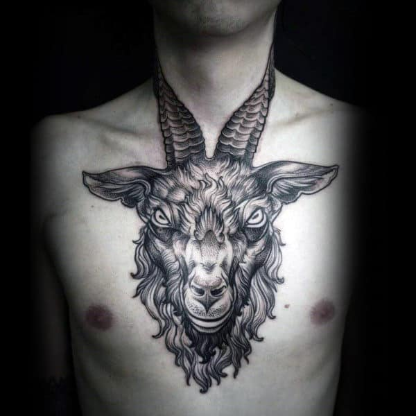 Ram Chest And Neck Tattoo For Guys
