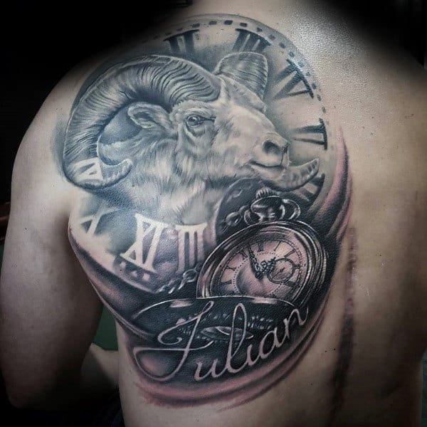 Ram Clock With Roman Numerals Memorial Back Tattoos