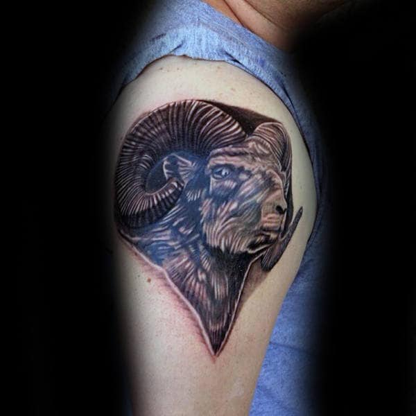 Ram Face With Horns Mens Upper Arm Tattoo