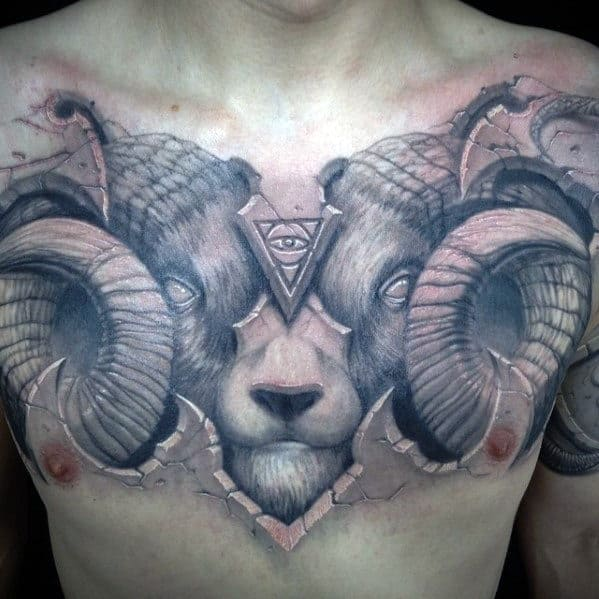Ram Horns Guys 3d Tattoo Design