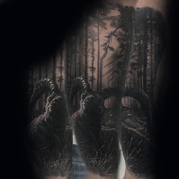Ram Tree Sleeve Forearm Tattoo For Guys