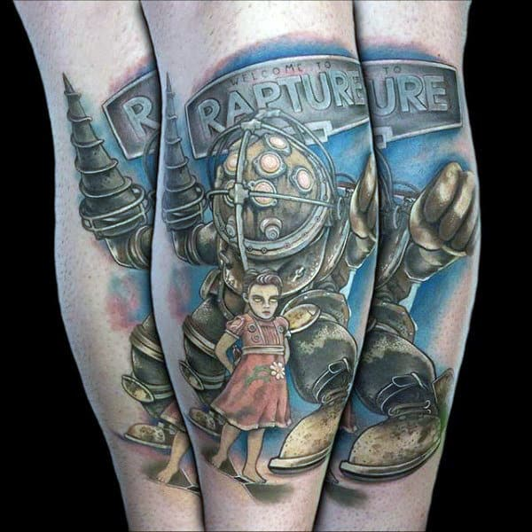 Rapture Bioshock Male Leg Tattoo Inspiration