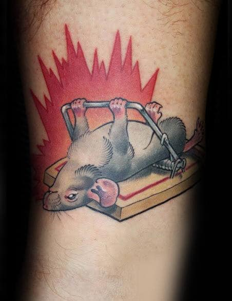 Rat Pushing Up Trap Mens Arm Tattoo
