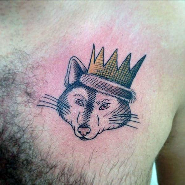 Rat With Crown Where The Wild Things Are Guys Upper Chest Tattoo