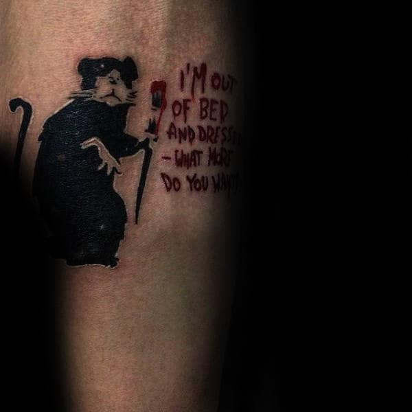 Rat With Paint Brush Lettering Banksy Guys Forearm Tattoo