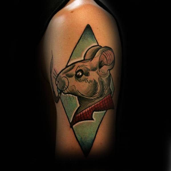 Rat With Pipe Mens Upper Arm Tattoos